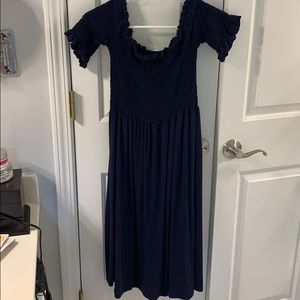 Pinkblush Smocked Top Maternity Dress Navy